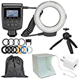 Precision Design 130 Universal Macro LED Ring Light & Flash with Colored Diffusers with Portable Light Box Studio + Tripod + Pouch + Kit