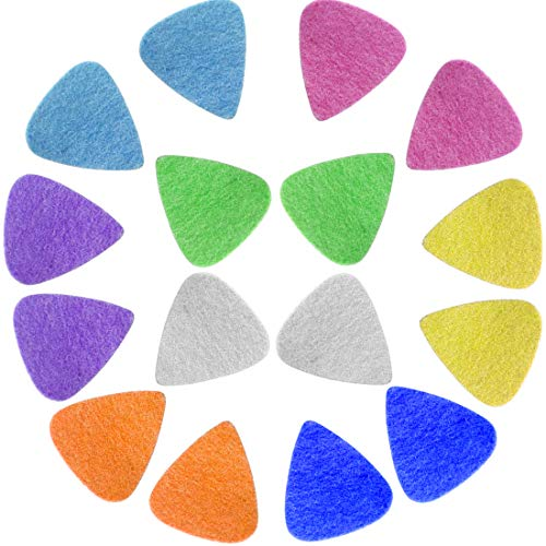 (Foxany 16 Pack Ukulele Felt Picks, Comfortable for Ukulele, Guitar, Bass and Low Tension Music Instruments Felt Material Multi Color )