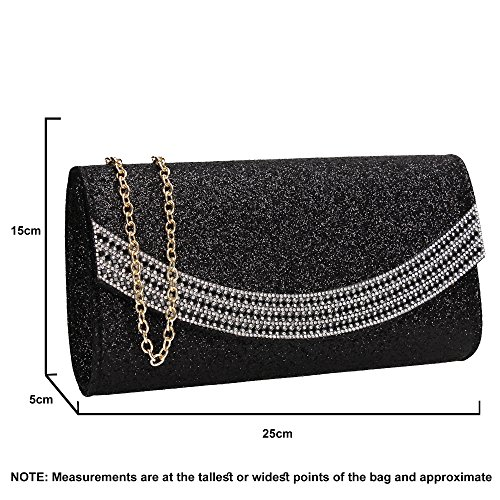 Womens Clutch Wedding SWANKYSWANS Black Bag Dakota Glitter Diamante Flapover qg44UXwf