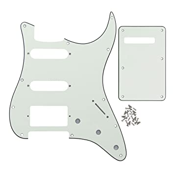 IKN 3Ply Vintage White 11 hole Strat HSS Pickguard Tremolo Cavity Cover Guitar Back Plate with Screws Set for Standard Strat Modern Style Guitar Part