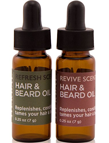 Travel Size Natural Beard Oil Set, Natural Beard Oil With Argan Oil and Essential Oils, Gentle Aromatherapy Beard Care, Beard Care Gift For Men, Smells Amazing, 2 vials, 0.25 ounce each No Paraben