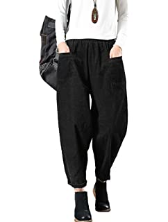 2a59b09e74f792 Minibee Women's Elastic Waist Corduroy Pants Casual Capri Trousers with  Pockets Fit US ...
