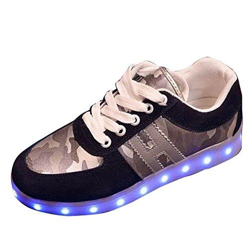 Reinhar Fashionable Mens Suede LED Light Luminous Camouflage Sneakers Running Shoes Trainer EU37-42 Black8.5 D(M) US