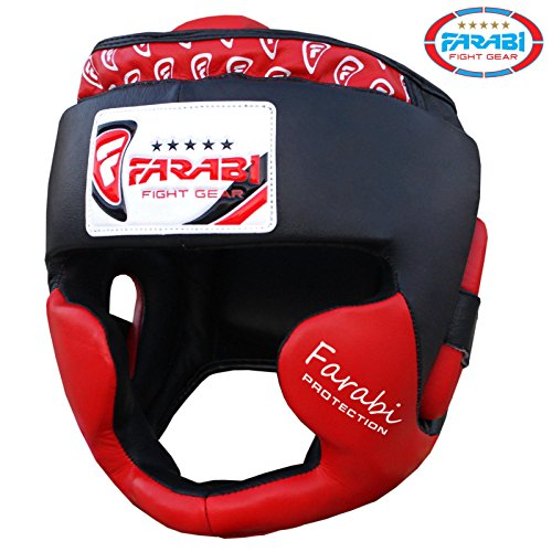 Boxing headguard, head protector mma muay thai kickboxing training punch protector genuine leather (Red, Large/X Large)