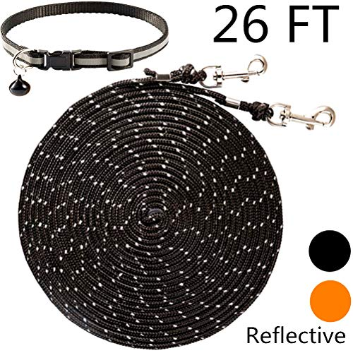 OFPUPPY Reflective Cat Tie Out Pet Rope Leash - Nylon Braided Cat Lead for Outside,Orange Black,26 Feet