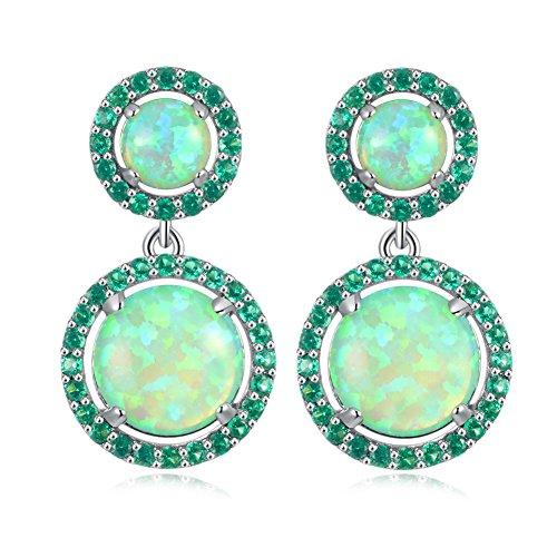 CiNily Rhodium Plated Green Fire Opal Emerald Women Jewelry Gemstone Stud Earrings 1 1/8