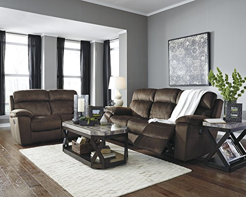Contemporary Microfiber Loveseat - Uhland Contemporary Microfiber Chocolate Color Power Reclining Sofa And Loveseat With Adjust Headrest