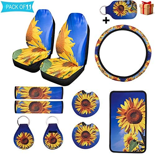 11 PCS Sunflower Car Accessories2PCS Front Sunflowers Car Seat CoversSunflower for Steering Wheel CoverVehicle Center Console Armrest Cover Pad2 Seat Belt Cover2 Car Coasters2 Sunflower Keyring
