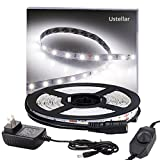 Under Kitchen Cabinet Lighting Ustellar Dimmable LED Light Strip Kit with UL Listed Power Supply, 300 Units SMD 2835 LEDs, 16.4ft/5m 12V LED Ribbon, Non-waterproof, 6000K Daylight White Lighting Strips, LED Tape