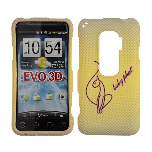 HTC EVO 3D Case Baby Phat Brand Cover Snap On Faceplate Shield Cell-Tronics BABY PHAT YELLOW CAT (Htc Evo 3d Boost Mobile)