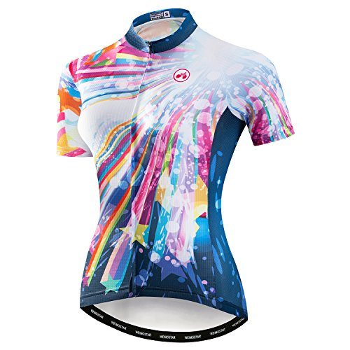 (Weimostar Women's Cycling Jersey Bike Shirts Short Sleeve Ladies Bicycle Clothing MTB Cycle Jacket Star Colorful Size L)