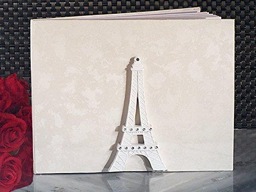 FavorOnline Elegant White Paris Collection Wedding Guest Book - Toasting Resin Flutes