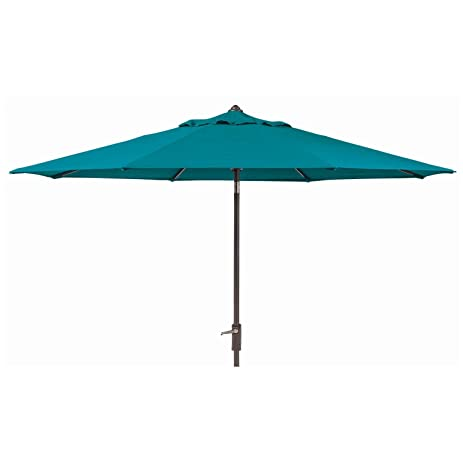 Sunbrella 10 Ft. Patio Market Umbrella With Auto Tilt Canvas Wave (Teal)