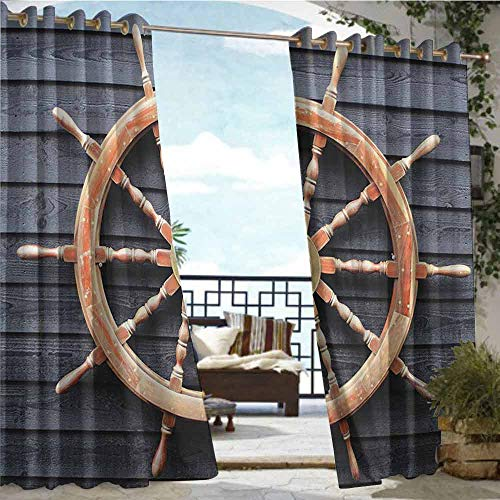 Outdoor Privacy Curtain for Pergola Ships Wheel Decor Collection,Old Trawler Steering Wheel Captain Direction Control on Hardwood Timber Wall,Charcoal Camel,W96