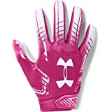 Under Armour Boys' F6 Youth Football Gloves, Tropic Pink (654)/White, Youth Large