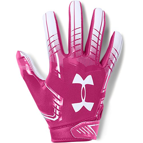 Under Armour Boys' F6 Youth Football Gloves, Tropic Pink (654)/White, Youth Medium -
