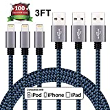Eashion Lightning Cable 3Pack 3FT 8Pin iPhone Charger, Premium Nylon Braided USB Charging Cord Compatible with iPhone 7 7 Plus 6 6s 6 plus 6s plus 5 5s 5c se ,iPad, iPod & More (Black & Blue)
