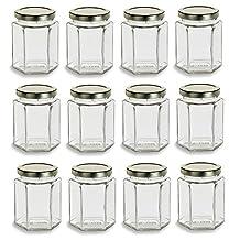 Nakpunar 12 Pcs , 9 Oz Large Hexagon Glass Jars for Jam, Honey, Wedding Favors, Shower Favors, Baby Foods, DIY Magnetic Spice Jars