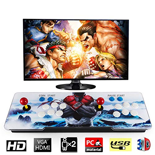 Entertainment Sports & Entertainment Strong-Willed Arcade Game Console With 1388 Retro Hd Games 2 Players Led Illuminated Ultra Slim Metal Double Joystick Buttons Built-in Speaker Fashionable And Attractive Packages