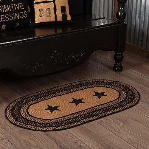 VHC Brands Classic Country Primitive Flooring - Farmhouse Jute Black Stenciled Stars Rug, 2