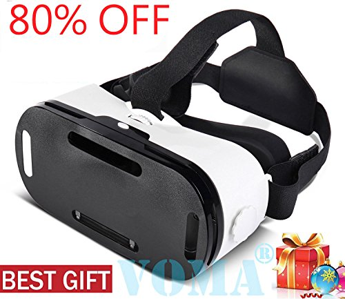 3D VR Glasses, 360 Degree Viewing Immersive VR Virtual Reality Headset 3D Movie Game Box For iPhone X 8 7 6/6s Plus, Samsung S8 S7 S6/Plus/Edge Note 8, Smartphones w/ 4.7-6.0in Screen White1 by VOMA