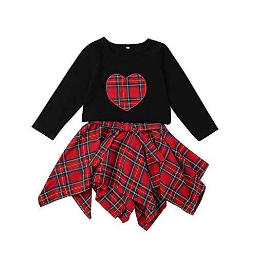 c3e5a8efb ElaCentelha Baby Girl Outfit Long Sleeve Heart T Shirt Top Red Plaid Bow  Irregular Skirt Clothes