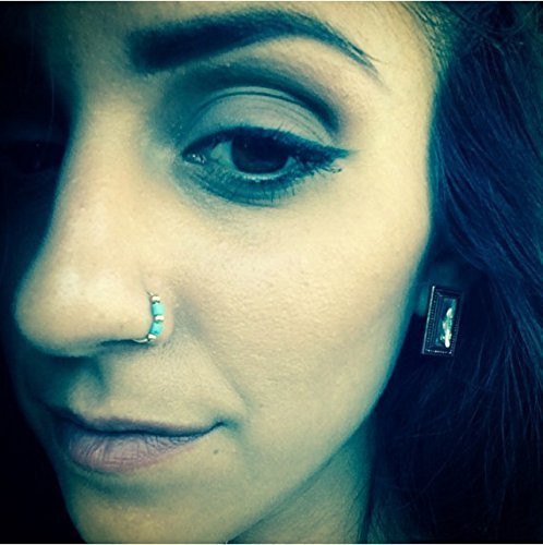 Amazon Com Turquoise Natural Stone Nose Ring Gold Filled Nose