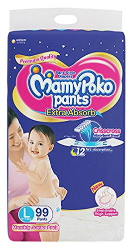 Buy MamyPoko Pants Extra Absorb Diaper Monthly Jumbo Pack Large 99