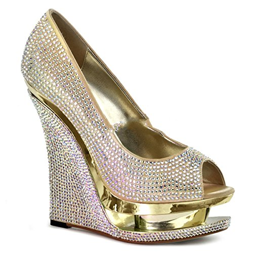 Donna Oro gold Tacco Strass Silber Col Pleaser Scarpe vwq6x1764