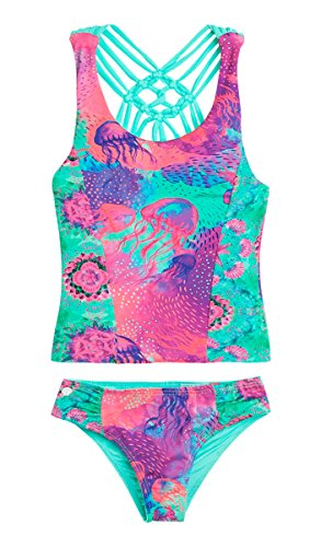 OFFCORSS Big Little Teen Girls Tankini Swimsuit Tops Set Bathing Suit Summer Clothing UV Protection Swimwear Traje de Baño Para Niñas Green 4