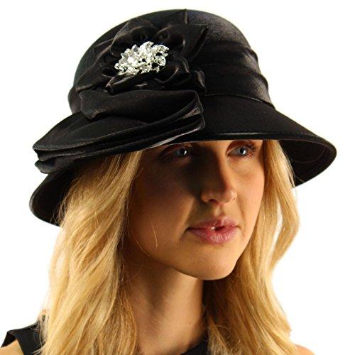 Black Satin Cloche Hat (Fancy Jeweled Luxurious Satin Derby Cloche Shape Bucket Dressy Party Hat Black)