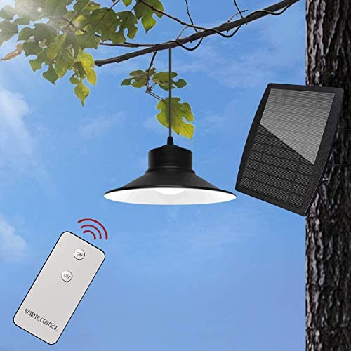 Ganeed Outdoor Solar Lights,LED Solar Pendant Lights with Solar Panel and Pull Cord,Remote Brightness Adjustable Hanging Shed Lamp for Storage Room Balcony Garden Yard Patio