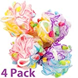 Bath Blossom Large Shower Sponge Pouf (4 Pack) - Bath Loofah Luffa Loufa - Great for Body Wash, Back and Body Scrubber - Exfoliate, Cleanse and Soothe Skin - Great Quality for Men and Women
