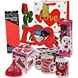 """Valentine Gift Set; Complete with Gift Bag, Tissue Paper, Red Rose, """"I Love You"""" Mini Bear, 2 Valentine Mugs & 1 Large of Hershey Red Kiss! Assembly Required."""