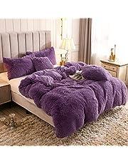 Uhamho Solid Fluffy 1PC Faux Fur Plush Duvet Cover Luxury Shaggy Velvet Bedspread Zipper Closure