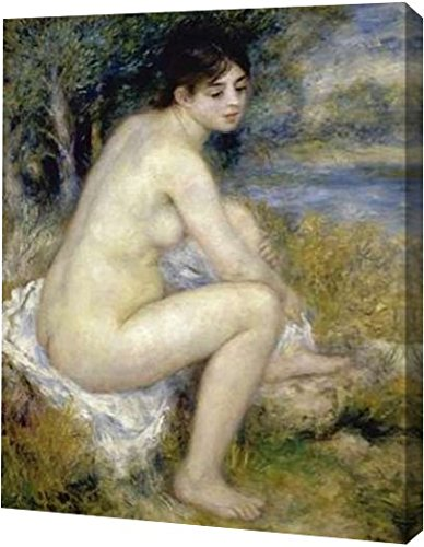 """PrintArt """"Nude Woman Seated In A Landscape"""" by Pierre-Auguste Renoir Gallery Wrapped Giclee Canvas Art Print, 25"""" x 30"""""""