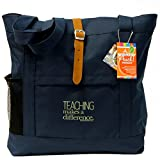 Teacher Peach Fashion Tote Bag - Motivational Handbag with Pockets, Organizers, Zippers, and Water Bottle Holder - Best for Teacher Appreciation, Retirement or New Teacher Gifts for Women - Navy