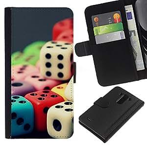 KLONGSHOP // Tirón de la caja Cartera de cuero con ranuras para tarjetas - Color del arco iris de los dados - LG G3 //
