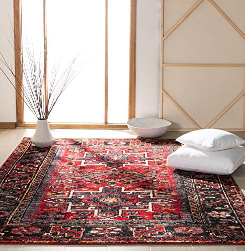 Safavieh Vintage Hamadan Collection VTH211A Antiqued Oriental Red and Multi Area Rug (6'7