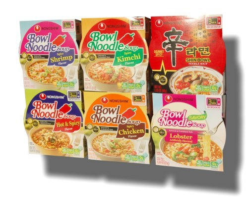 Korean Noodle Soup - Nongshim Bowl Instant Noodle Soup Assorted Bundle 6 Flavors: Shin Bowl + Lobster + Spicy Shrimp + Spicy Kimchi + Spicy Chicken + Hot & Spicy (12-pack)