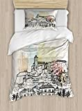 Lunarable Ibiza Twin Size Duvet Cover Set, Sketch Style Balearic Islands Spain Hand Drawn Historical Buildings and Boats Travel, Decorative 2 Piece Bedding Set with 1 Pillow Sham, Multicolor