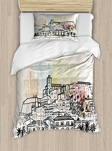 Lunarable Ibiza Twin Size Duvet Cover Set, Sketch Style Balearic Islands Spain Hand Drawn Historical Buildings and Boats Travel, Decorative 2 Piece Bedding Set with 1 Pillow Sham, Multicolor by Lunarable