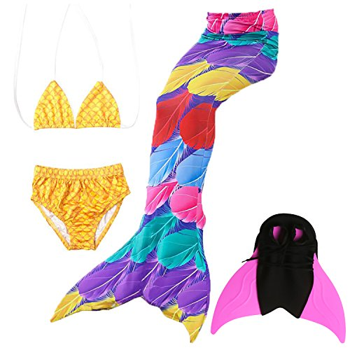 Rca Hook Mono - Eafior Girls Mermaid Tail Swimsuit with Monofin Swimmable Tail Swimsuit 4PCS Sets,Children Mermaid Clothing Costume Cosplay Princess Swimwear Bikini Set Bathing Suit Set with Mono Fin Four Pcs