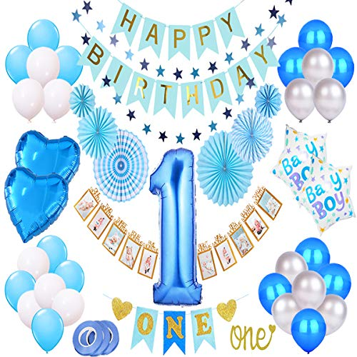 1st Birthday Boy Decorations Kit, Baby Boy 1st Birthday Decorations Prince Theme Party Pack, High Chair Banner, 12 Month Photo Banner, Happy Birthday Banner, Royal Blue Silver and White Balloons, Blue Paper Fans, Foil Balloons, Star Garland, One Cake Topper ()