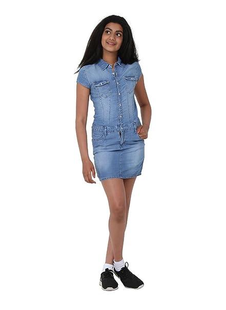 Niña Vestido de Mezclilla - Stonewash Denim Dress 10-16 Años TEEN004: Amazon.es: Ropa y accesorios