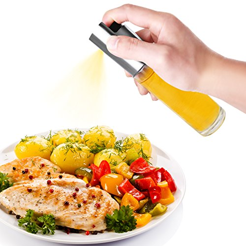 Oil Sprayer for Cooking/BBQ/Salad, Glass Bottle Olive Oil and Vinegar Dispenser