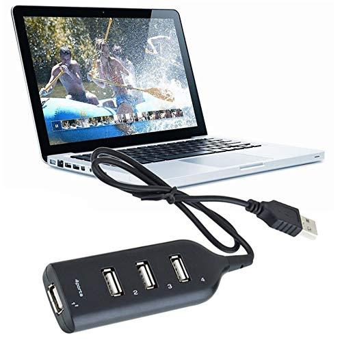 Justdodo Port/átil 4 Puertos USB 2.0 Alta Velocidad HUB USB Ordenador port/átil Delgado Mini Adaptador Divisor USB m/ás peque/ño para tel/éfono m/óvil Ordenador port/átil Negro