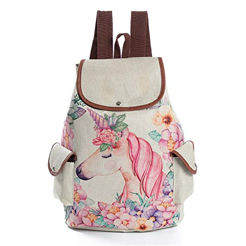 Domccy Cartoon Pink Unicorn Print Linen Backpack Drawstring Backpack for Girls School Backpack Coin purse, shoes and accessories, ladies handbag, backpack from Domccy
