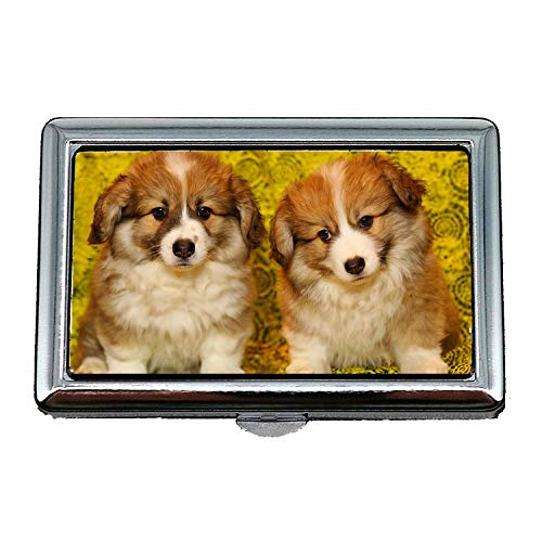 Cigarette Case/Box,Puppies The Pembroke Welsh Corgi Pet Darling,Business Card Holder Business Card Case Stainless
