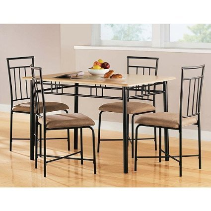 Amazoncom Mainstays 5 Piece Wood And Metal Dining Set Espresso By